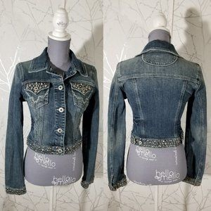 Miss Me Button Front Studded Cropped Denim Jacket
